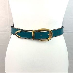 Pellateri Leather Teal Gold Western Belt Small